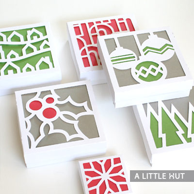 Christmas paper quilt & boxes