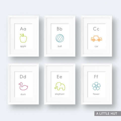 Alphabet flashcards by Patricia Zapata for A Little Hut.