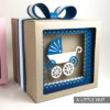 Baby carriage shadow gift box and cards