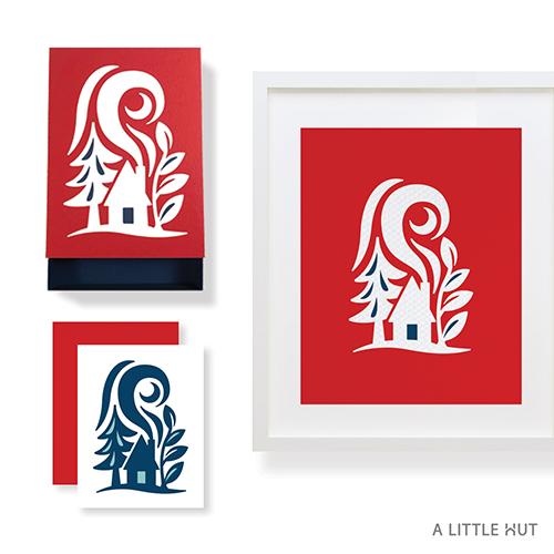 A Little Hut SVG files - Forest cabin matchbox gift set