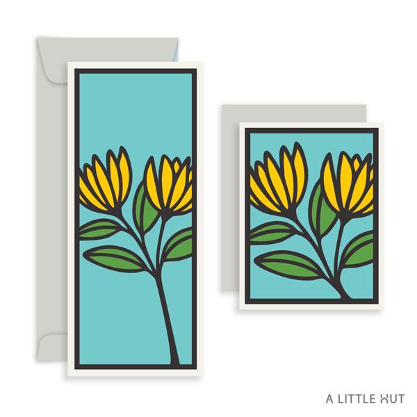 A Little Hut SVG files - Flower duo cards
