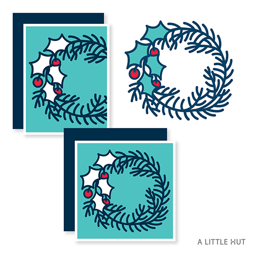 A Little Hut SVG files - Holly wreath cards