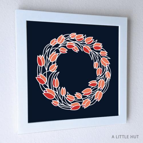 Tulips Wreath Wall Art - ALittleHut.com